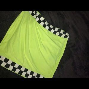 Neon green tube top